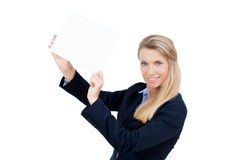 Young woman holding at blank card in her hand Stock Image
