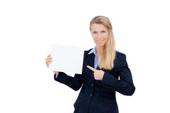 Young woman holding at blank card in her hand Stock Photos