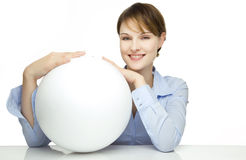 Young woman holding a blank globe. For text and symbols Stock Image