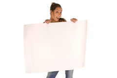 Young woman holding a blank panel Royalty Free Stock Photography