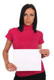 Young Woman Holding Blank Sign Royalty Free Stock Photography