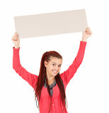 Young woman holding blank sign Royalty Free Stock Images