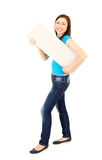 Young woman holding blank sign, full length Royalty Free Stock Photography