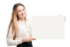 Young woman holding blank signboard. Royalty Free Stock Photo