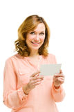 Young woman holding blank signboard. Royalty Free Stock Photography