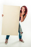 Young woman holding a blank white banner, ups Stock Photography