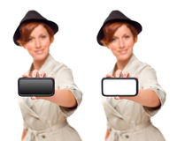 Young Woman Holding Blank White and Black Phone Royalty Free Stock Photos
