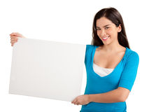 Young Woman Holding a Blank White Sign Stock Photography