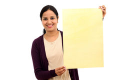 Young Woman holding blank wood sheet Royalty Free Stock Photography