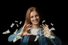 Young woman and financial success concept