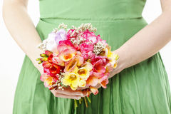 Young woman holding bouquet Royalty Free Stock Photo