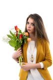 Young woman is holding bouquet of tulips Stock Photos