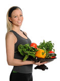 Young Woman Holding Bowl with Frruits and Vegetables Stock Image
