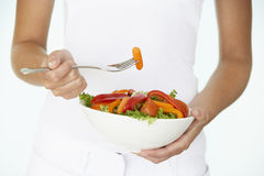 Young Woman Holding Bowl Of Salad Royalty Free Stock Photography