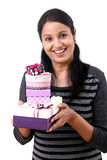 Young woman holding boxes Royalty Free Stock Photo