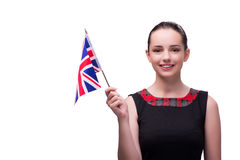 The young woman holding british flag Royalty Free Stock Images