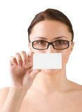 Young woman holding business card Stock Image