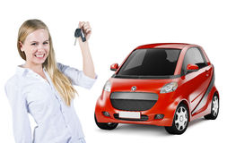 Young Woman Holding a Car Key and Red Car at the Back Royalty Free Stock Image