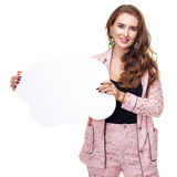 Young woman holding a cardboard cloud, a place for an inscriptio. Young beautiful brunette woman holding a cardboard cloud, a place for an inscription, isolated Stock Photography