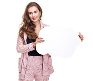 Young woman holding a cardboard cloud, a place for an inscriptio. Young beautiful brunette woman holding a cardboard cloud, a place for an inscription, isolated Royalty Free Stock Photos
