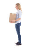 Young woman holding cardboard moving box Stock Image
