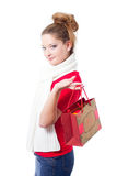 Young woman holding christmas gift bag Stock Photo