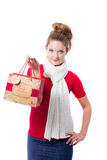 Young woman holding christmas gift bag Stock Photography