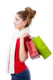 Young woman holding christmas gift bags Royalty Free Stock Photos