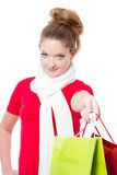 Young woman holding christmas gift bags Stock Image
