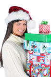 Young Woman Holding Christmas Presents Stock Images