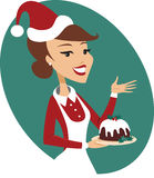 Young woman holding christmas pudding. Young woman holding nicely decorated christmas pudding Royalty Free Stock Photography