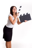 Young woman holding a clapper Stock Image