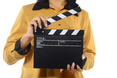 Young Woman Holding Clapperboard Stock Images