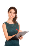 Young woman holding clipboard Royalty Free Stock Photos