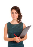 Young woman holding clipboard Stock Image