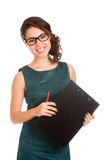 Young woman holding clipboard Stock Photo