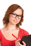 Young woman holding clipboard Royalty Free Stock Photo