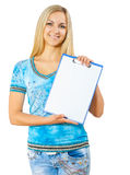 A young woman holding clipboard Royalty Free Stock Photography
