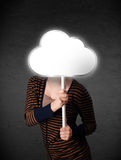 Young woman holding a cloud Stock Photo