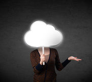 Young woman holding a cloud Royalty Free Stock Photo