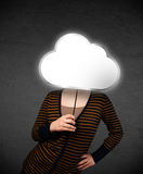 Young woman holding a cloud Stock Images