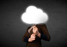 Young woman holding a cloud Stock Photos