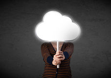 Young woman holding a cloud Stock Photography