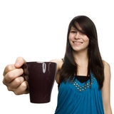 Young woman holding coffee cup Stock Image