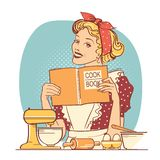 Young woman holding cook book in her hands on kitchen room.Reto style color illustration. On white background stock illustration