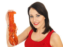 Young Woman Holding a Cooked Lobster Stock Images
