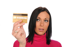 Young Woman holding a credit card Royalty Free Stock Images