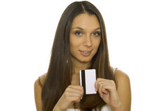 Young woman holding credit card Stock Photo