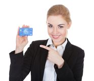 Young Woman Holding Credit Card Royalty Free Stock Photo