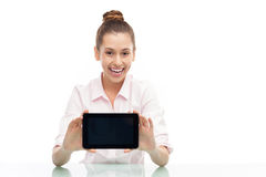 Young woman holding digital tablet Stock Photography